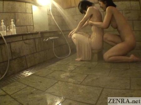 japanese lesbian breast washing in onsen
