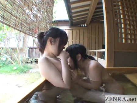 pale lesbian has nipples licked while bathing