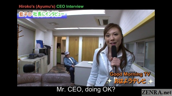 japanese reporter interviews local business