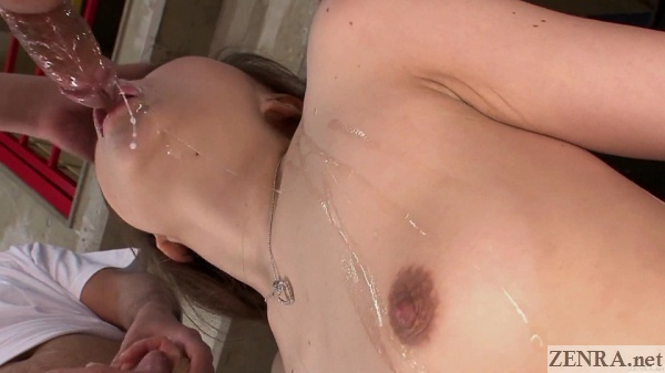 saliva coated leaking dick about to enter mouth of sena ayumu below angle