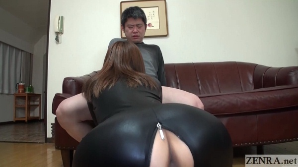 full body latex suit unzipped blowjob from behind