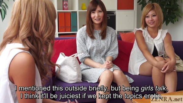 girls talk erotic theme with amateur japanese friends