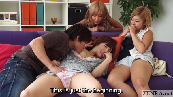 pale japanese amateur nipples licked while friends watch