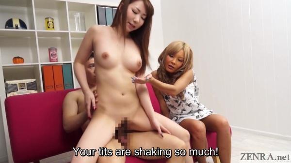 reverse cowgirl sex while miyashita tsubasa watches