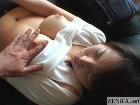 overhead view topless busty japanese wife groped