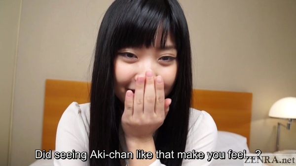 demure japanese amateur covers mouth