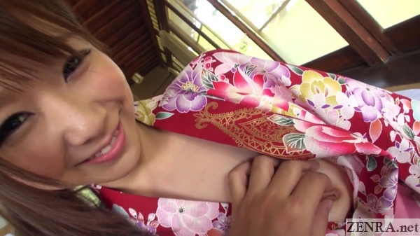 japanese woman half stripped out of yukata