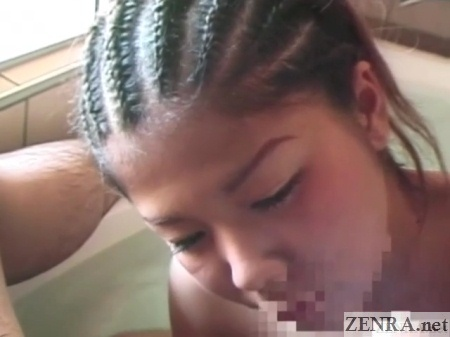 cornrows japanese gyaru giving handjob close up
