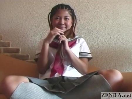 cute japanese gyaru schoolgirl with cornrows