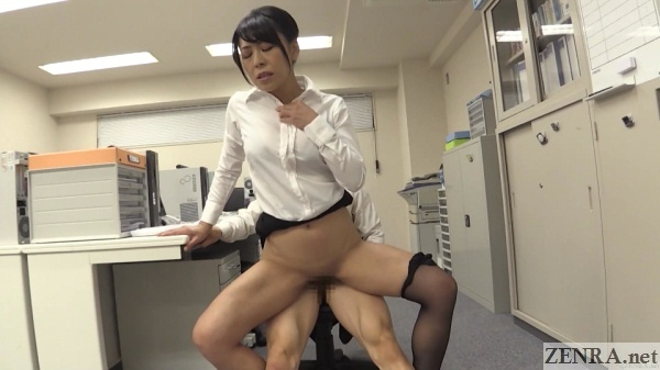 bottomless female boss has anal sex at desk
