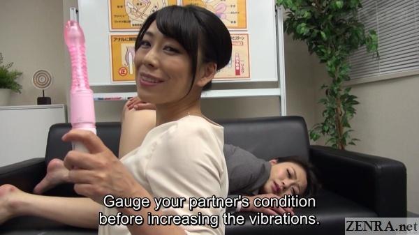 maki aoyama holds up freshly used anal vibrator