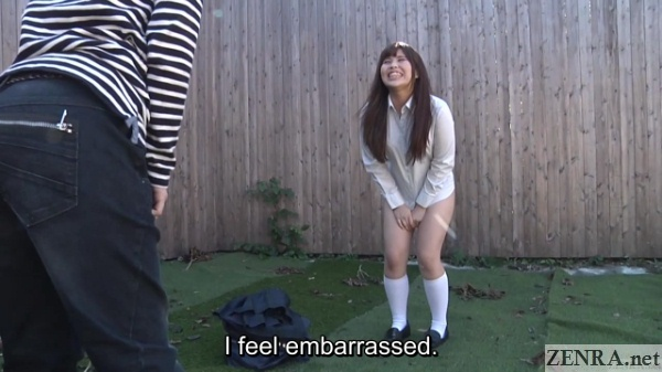 embarrassed schoolgirl loses her skirt