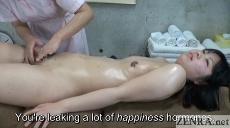 embarrassed naked japanese woman receives vagina massage