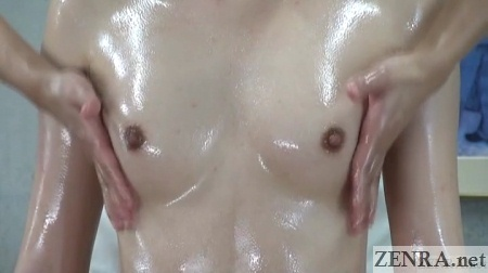 oiled up japanese breast massage zoomed in