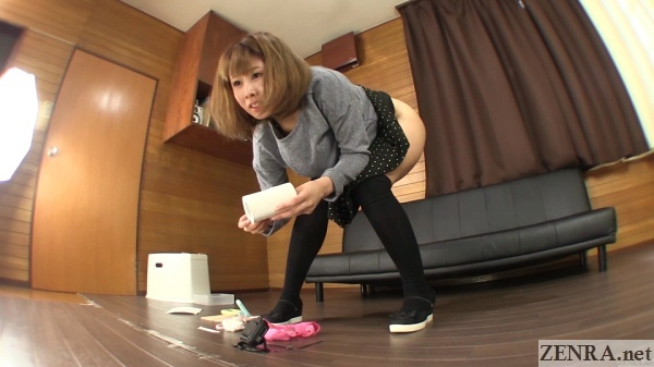 bottomless japanese woman wipes herself