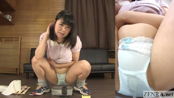 squatting japanese woman pees into plastic container
