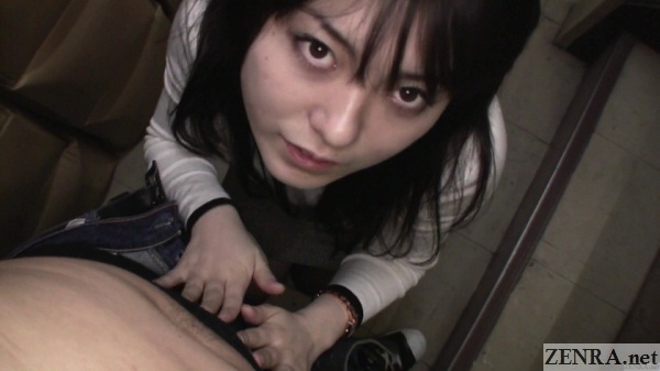 pov japanese amateur rubs bulge in stairwell