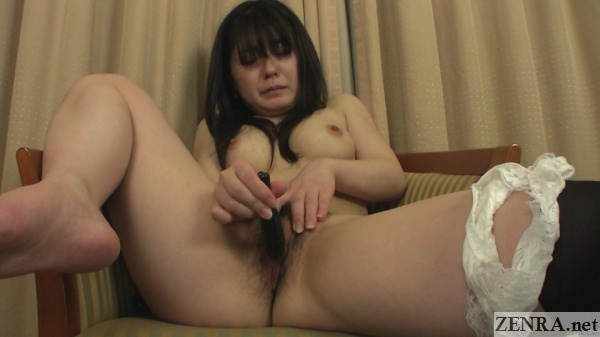 naked and pale japanese amateur leg up in the air for masturbation