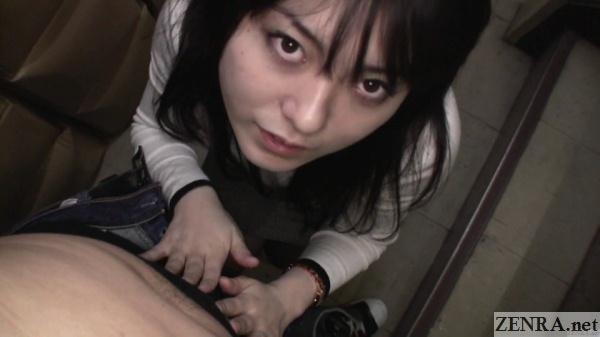 pov japanese amateur rubs bulge in stairwell