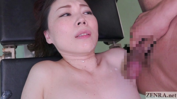 pale japanese milf covered in doctor cum