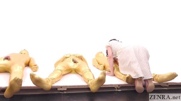 japanese milf gives blowjob to zentai man
