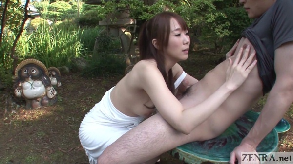 japanese couple casual outside foreplay