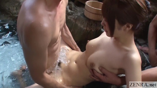 aggressive sex in bathhouse splashing water over insertion