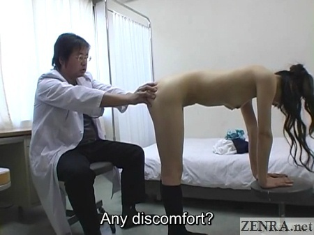 clothed doctor examines anus of naked bent over schoolgirl