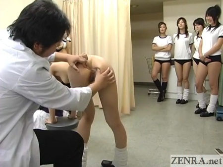 cmnf japan school anus inspection with clothed schoolgirl audience