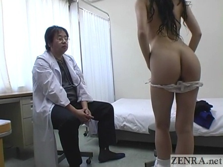 leggy japanese student drops panties for doctor