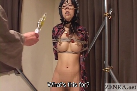 vibrator presented to bound japanese woman