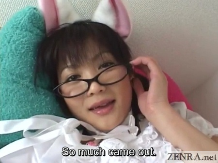 ejaculation surprise for japanese av star in bunny ears