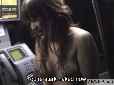 embarrassed and naked college student in phone booth