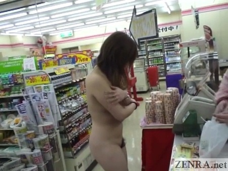 embarrassed naked japanese woman at store cash register