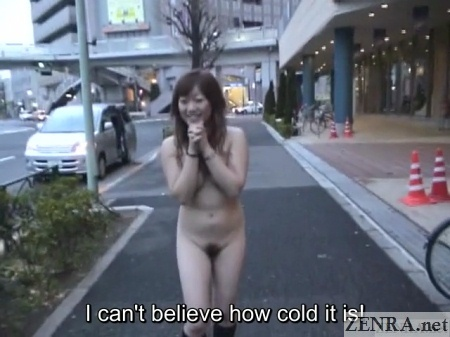 embarrassed and naked in tokyo during winter