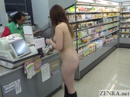 japanese nudist at convenience store register