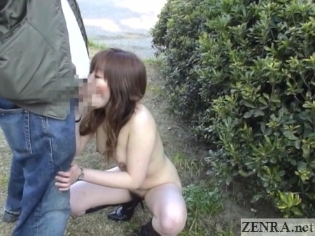 public japanese blowjob by crouching naked woman