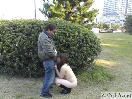 clothed man receives outdoor blowjob by nudist