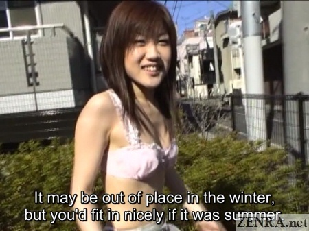 amateur japanese woman outside in white lingerie