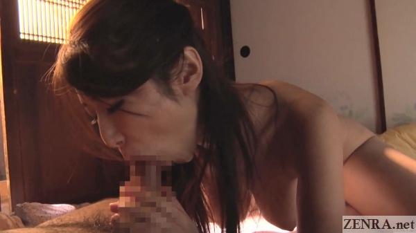 ayumi shinoda big breasts hanging during blowjob