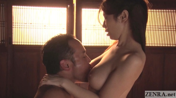 ayumi shinoda licked in between breasts during cowgirl sex
