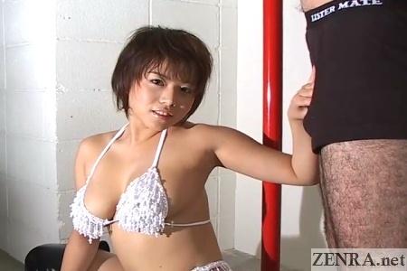 mai haruna poses with flaccid juice man