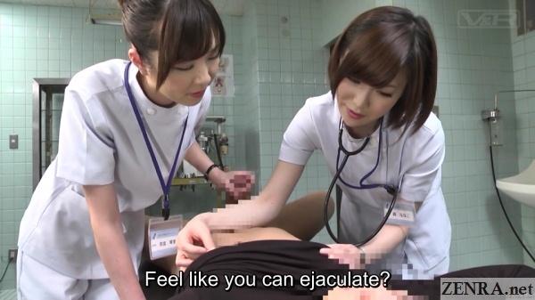 handjob and nipple massage in operating theater