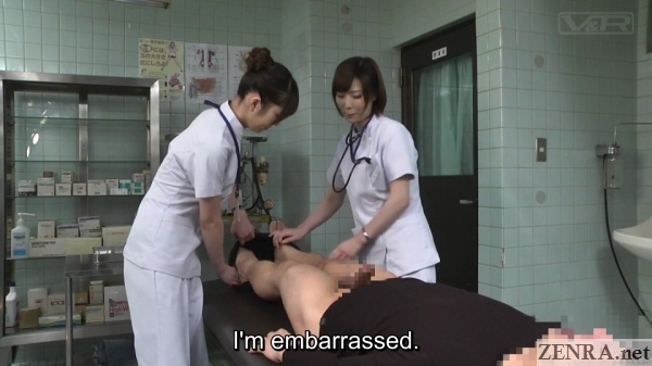 embarrassed patient stripped bottomless