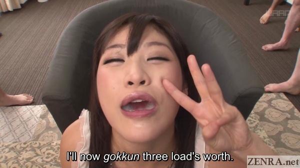 japanese triple gokkun swallowing attempt