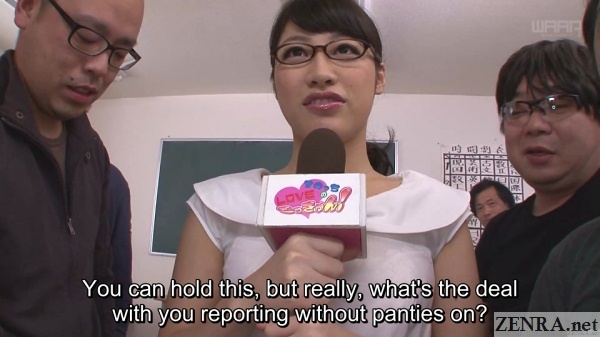 bottomless japanese reporter in classroom with juice men