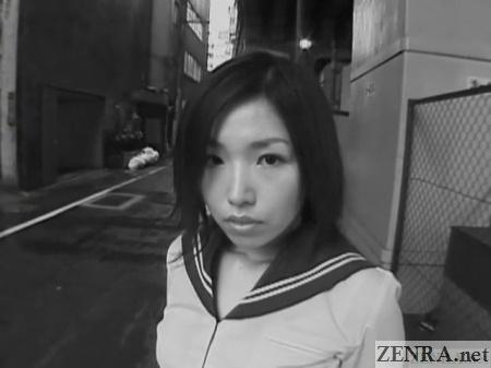 black and white japanese schoolgirl outside