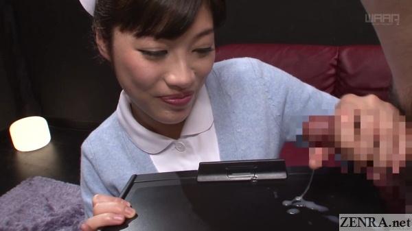 handjob ejaculation service by clothed japanese nurse