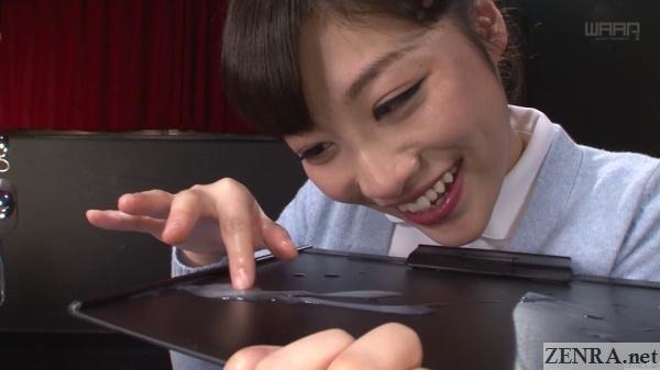 sunohara miki adoringly examines cum
