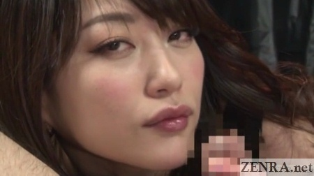 hoshino akari holding erection close up